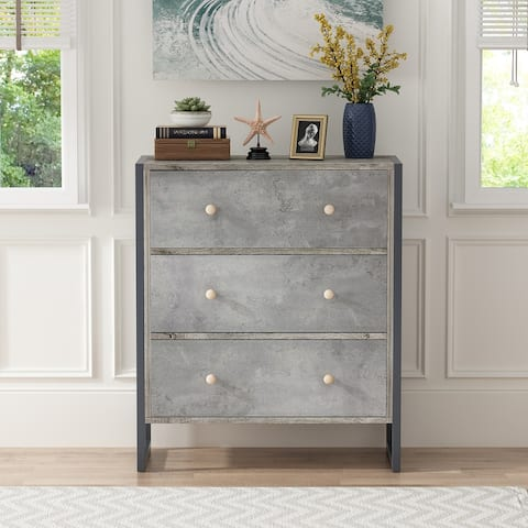 Kerrogee 3-Drawer Chest - Wooden Storage Dresser with Metal Legs