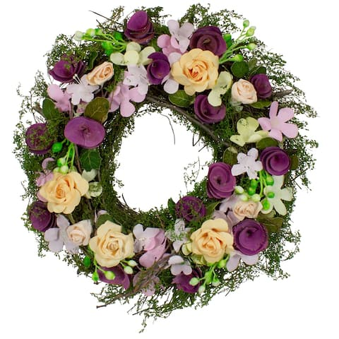 Purple and Green Floral, Berries and Twig Artificial Spring Floral Wreath, 14-Inch