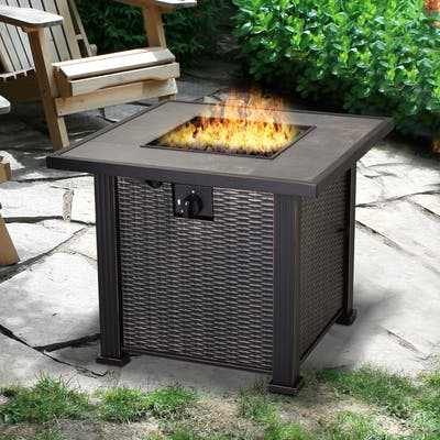 Outsunny Slate and Wicker Outdoor Gas Fire Pit Table