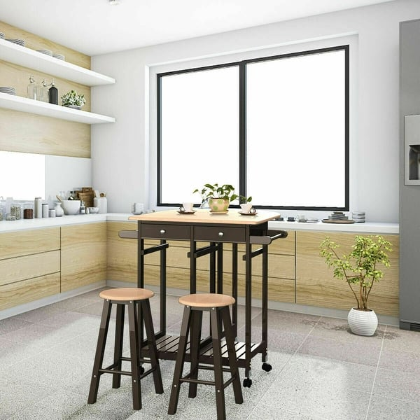 Shop Costway 3pc Wood Kitchen Island Rolling Cart Set Dinning Drop Leaf Table W 2 Stools Overstock 16131203,What Color Makes You Sleepy
