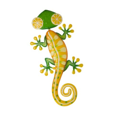 "Glitzhome 24""L Whimsical Metal Gecko Wall Decor"