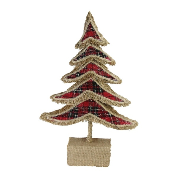 """17"""" Red Plaid Country Rustic Tree Christmas Table Top Decoration - brown"""