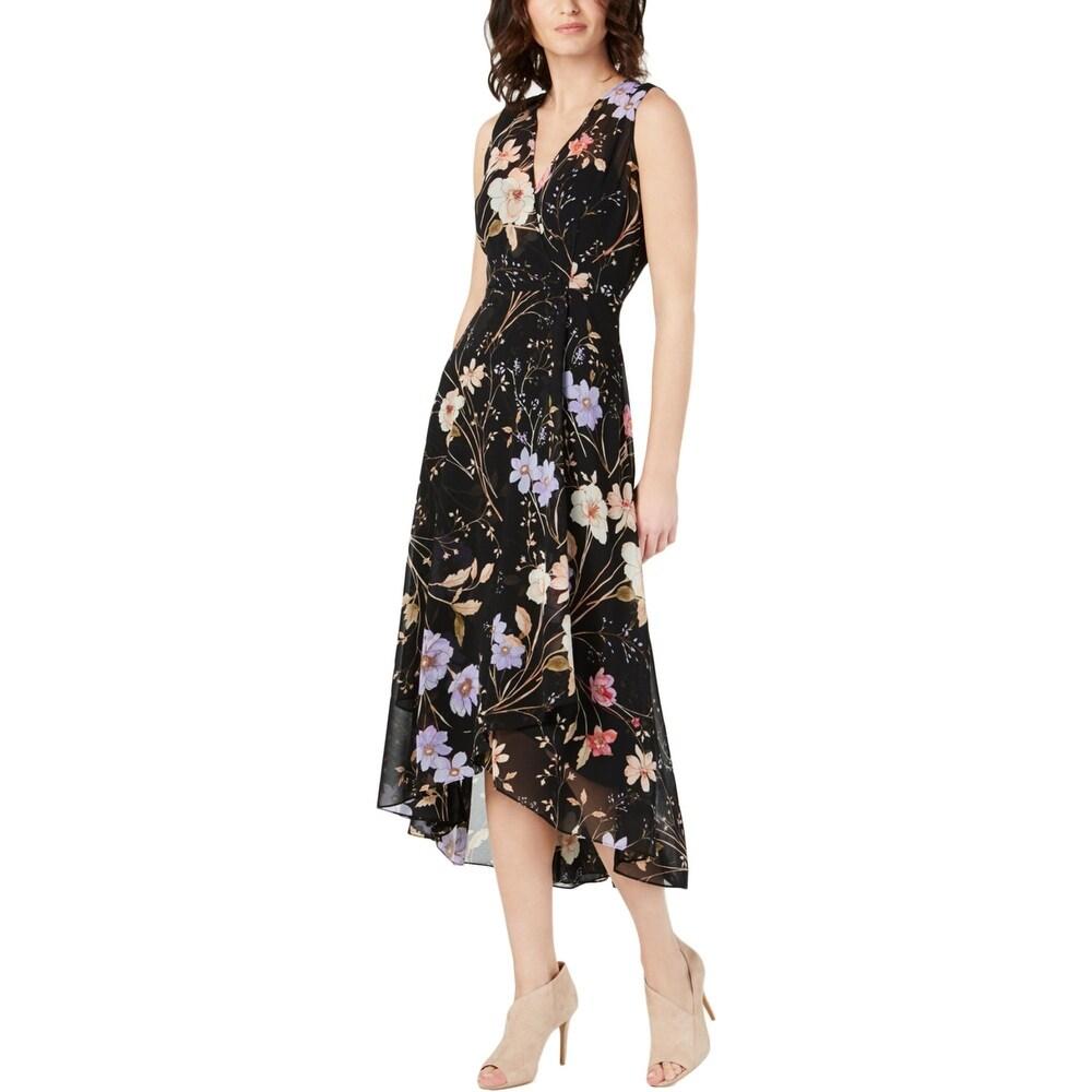 Calvin Klein Womens Maxi Dress Floral Chiffon