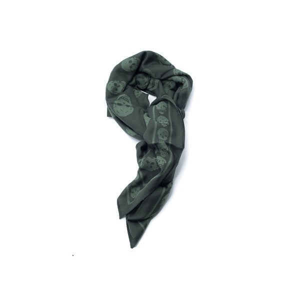 Alexander McQueen Wool blend Two-Toned Green Iconic skull scarf