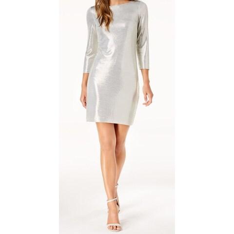 Jessica Howard Silver Gold Womens Size 14 Metallic Sheath Dress