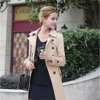 Autumn outerwear coat women medium-long sashes trench coat slim women casual dress trench coat