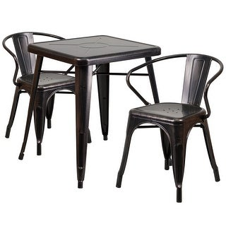 Brimmes 3pcs Square 23.75'' Black-Antique Gold MetalTable w/2 Arm Chairs