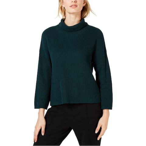 Eileen Fisher Womens Ribbed Turtleneck Pullover Sweater