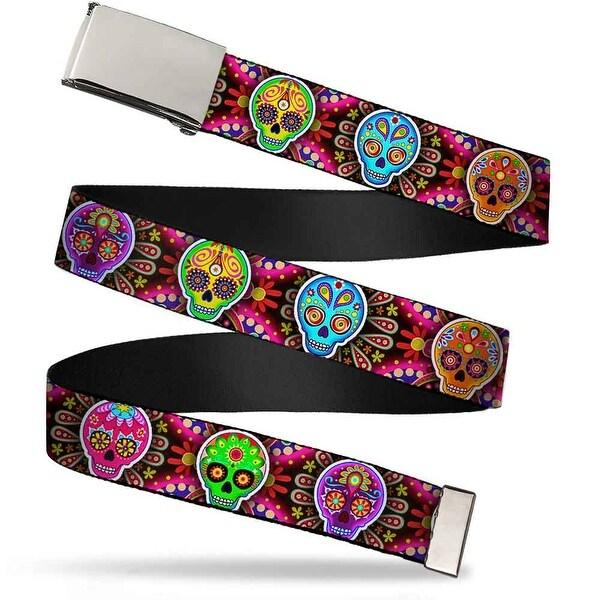 Blank Chrome Buckle Six Sugar Skulls Multi Color Webbing Web Belt