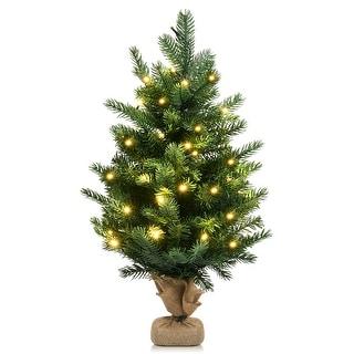 Costway 24''Pre-Lit Tabletop Fir Christmas Tree 35 LED Lights Timer