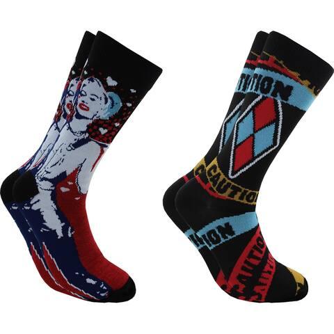 Hyp Harley Quinn Birds of Prey Men's Crew Socks 2 Pair Pack Shoe Size 6-12