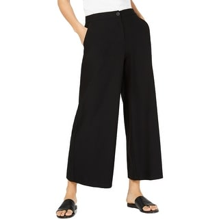 Eileen Fisher Womens Wide Leg Pants High Waist Cropped - Black