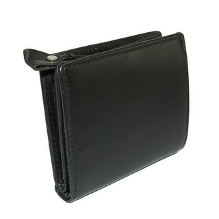 Winn International Men's Leather with Zippered Coin Pocket Wallet, Black - One size