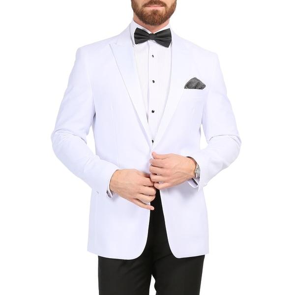 Ferrecci Mens Aura White Slim Fit Peak Lapel Tuxedo Dinner Jacket