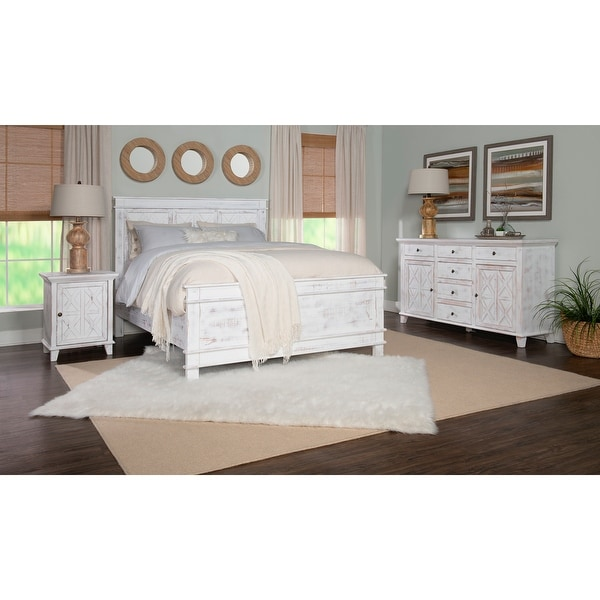 Gorgia Rustic White Queen Bed. Opens flyout.