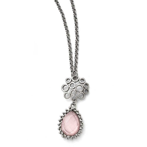 Chisel Stainless Steel Polished Rose Quartz with 2in ext. Necklace - 18 in