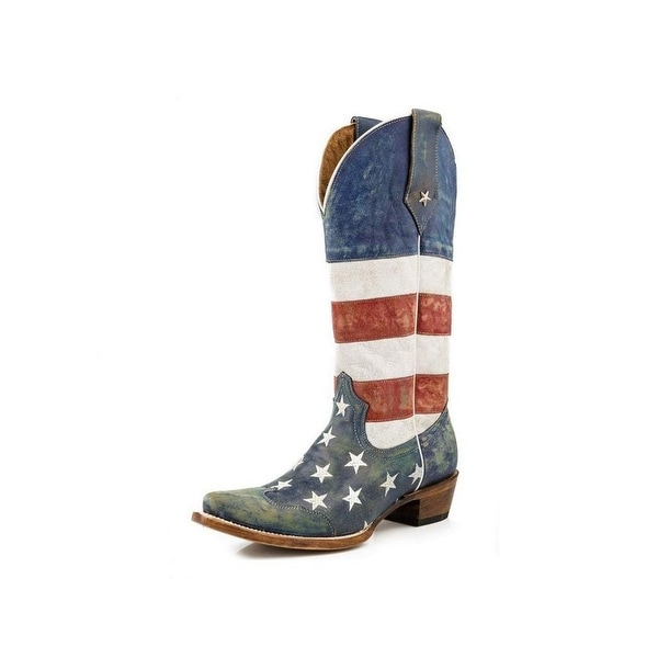 Roper Western Boots Womens American Flag Blue