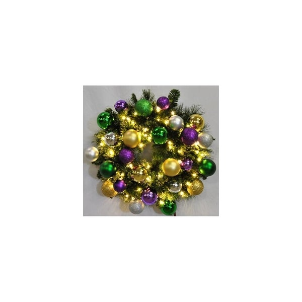 Christmas at Winterland WL-GWSQ-03-MARDI-LWW 3 Foot Pre-Lit Warm White Sequoia Wreath Decorated with Mardi Gras Ornaments Indoor