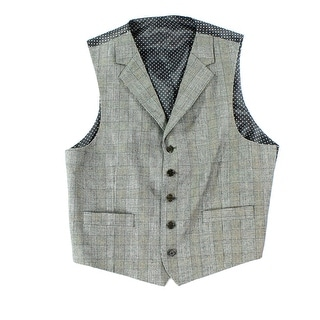 Designer NEW Brown Mens Size Medium M Glen Plaid Button Down Vest