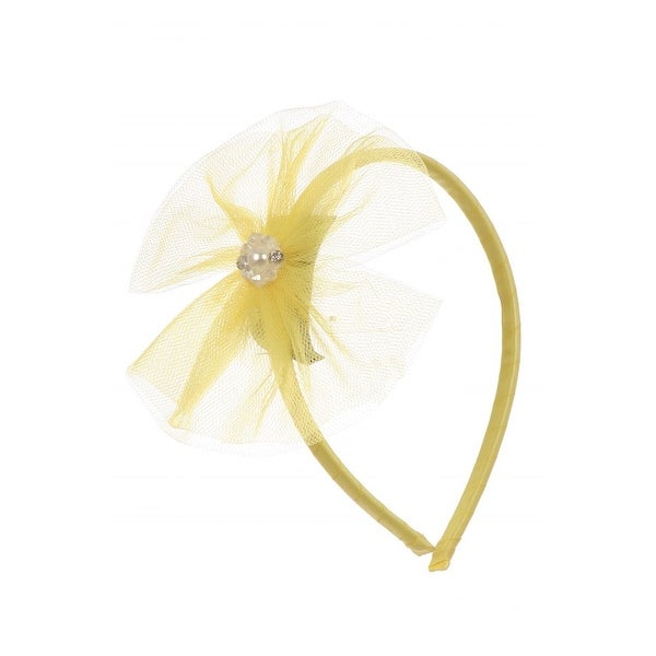 Kids Dream Girls Yellow Tulle Pearls Bow Headband - One Size