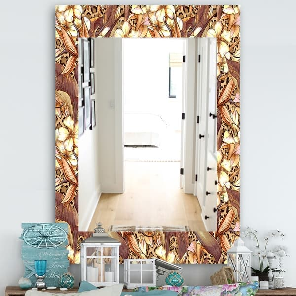 Designart Pattern With Exotic Flowers Bohemian And Eclectic Mirror Wall Mirror Overstock 28558261