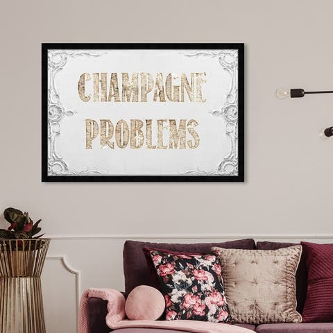 Oliver Gal 'Champagne Problems' Typography and Quotes Framed Wall Art Prints Quotes and Sayings - Gold, White