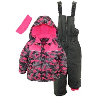 Pink Platinum Little Girls' Camo Heart Print Better Ski Snowsuit Snowboard Suit