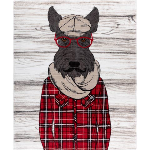 Throw Ribbed Printed Flannel Scottish Dog