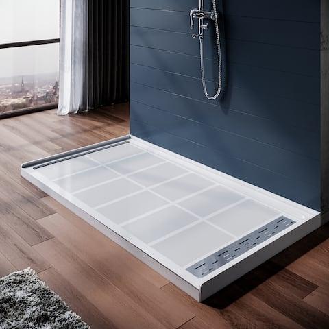 ELEGANT 48''W x 32''D x 4''H Shower Base with Shower Drain