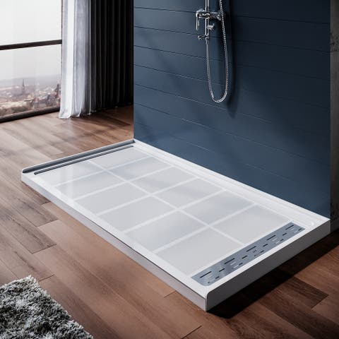 ELEGANT 60''W x 32''D x 4''H Shower Base with Shower Drain Solid Surface