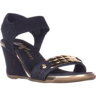 AK Anne Klein Sport Latasha Comfort Wedge Sandals, Dark Blue/Gold