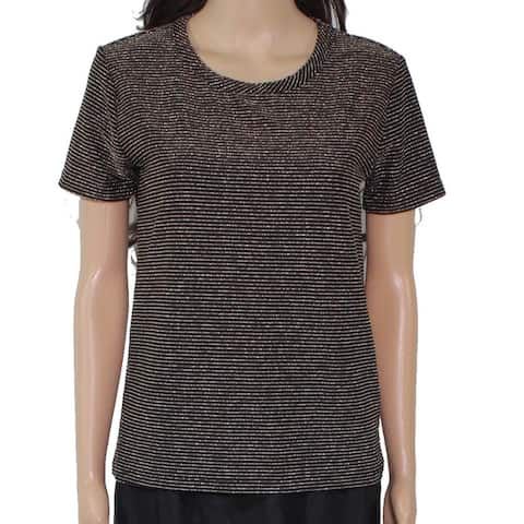 Chaser Women's Blouse Gold Size Large L Striped Textured Crewneck