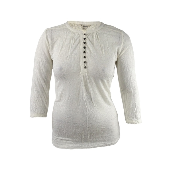 Lucky Brand Women's Trendy Plus Size Lace Blouse (1X, Whisper White) - Whisper White - 1X