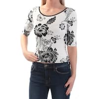 GUESS Womens White Tie Floral 3/4 Sleeve Jewel Neck Top  Size: XL