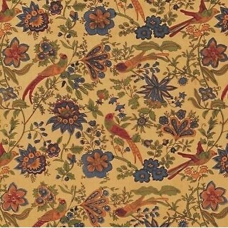 Handmade Birds of Paradise Tapestry Bedspread Coverlet 100% Cotton Tan Twin Full