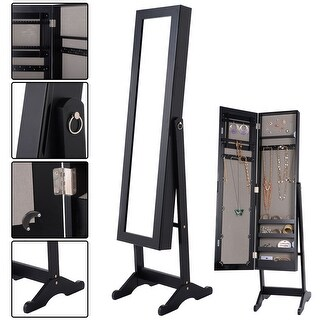 Costway Mirrored Jewelry Cabinet Armoire Mirror Organizer Storage Box Ring w/ Stand - Black