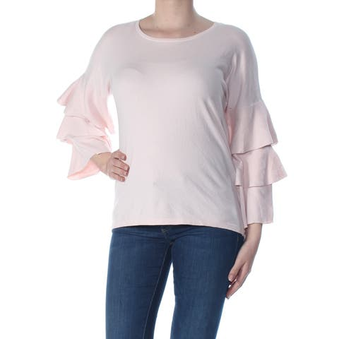 CECE Womens Pink Tiered Sleeve Long Sleeve Wear To Work Sweater Size: M