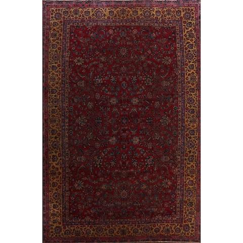 "Pre-1900 Antique Vegetable Dye Sarouk Persian Area Rug Wool Handmade - 11'1"" x 15'4"""
