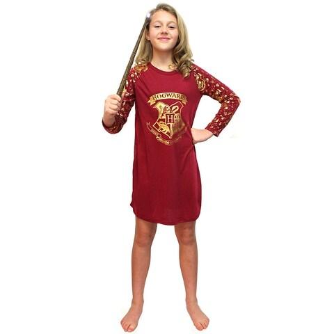 Intimo Big Girls' Harry Potter Gold Foil Hogwarts Raglan Pajama Night Gown