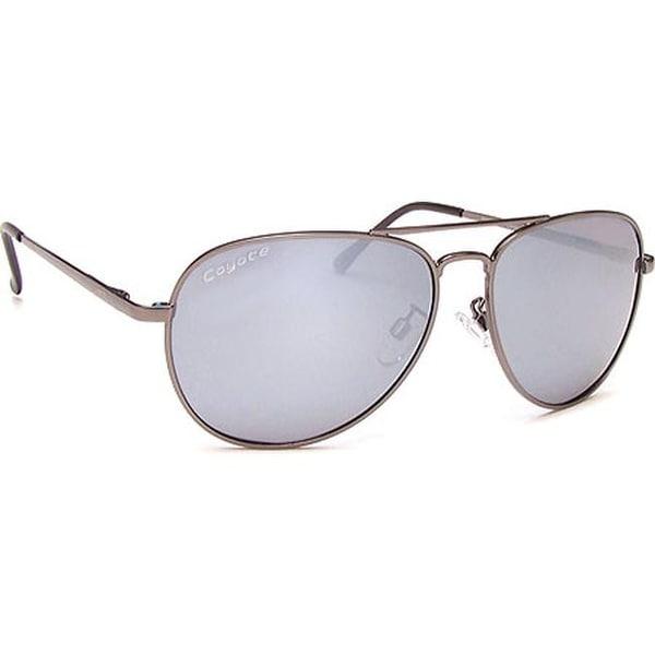 a530f1a5ab Coyote Eyewear Classic II Polarized Aviator Sunglasses Dark Silver Gray  Silver Mirror - us one