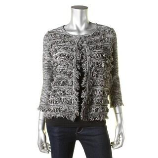 T Tahari Womens Fiona Marled Hook Front Cardigan Sweater