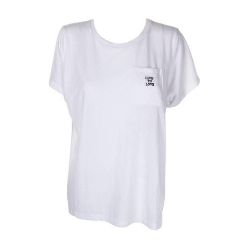 Rachel Rachel Roy White Graphic Short Sleeve T-Shirt 1X