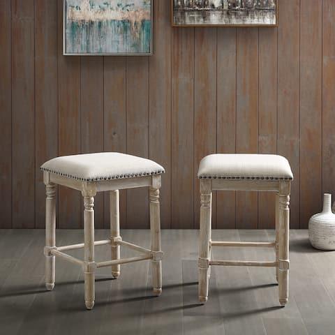 Arnhem Wood Upholstered Counter Height Stool, Set of 2