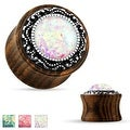 Tribal Pattern Faux Opal Organic Wood Saddle Plug (Sold Individually) - Thumbnail 0