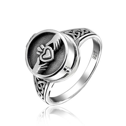 Celtic Irish Couples Heart Locket Claddagh Ring 925 Sterling Silver