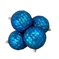 4ct Shiny Lavish Blue Diamond Design Shatterproof Christmas Ball Ornaments 3.75""