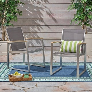 Link to Glasgow Outdoor Dining Chairs with Aluminum Frame (Set of 2) by Christopher Knight Home Similar Items in Patio Dining Chairs