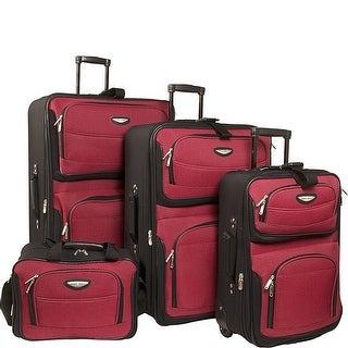 Traveler's Choice Amsterdam 4-Piece Luggage Set - Burgundy Black