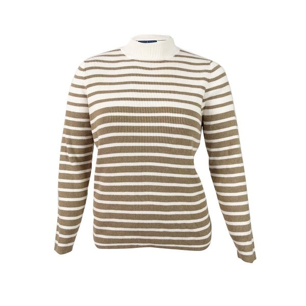 Shop Karen Scott Womens Striped Ribbed Sweater Xl Chestnut Combo