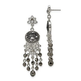 Silvertone Crystal Believe Leverback Earrings